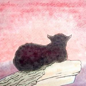水彩画170枚目「夕暮れのクロヒョウさん」