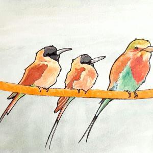 水彩画171枚目「鳥さん親子」
