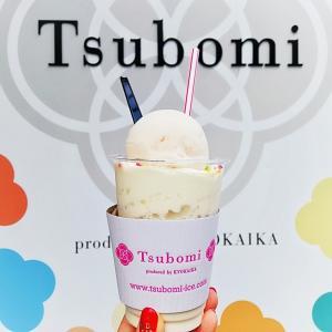 tsubomi で白桃シャーベットとそば粉アイスクリームのアイフロート @白楽