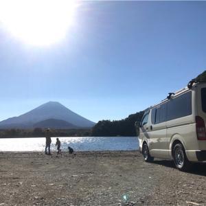 子抱き富士の麓 精進湖で車中泊キャンプ