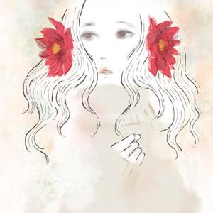 「夏を想う花」〜女性と花のオリジナルイラスト