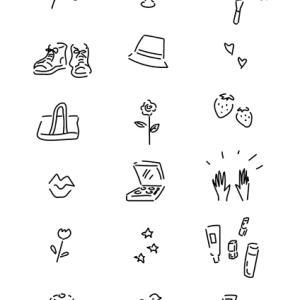 書籍・女性誌・リーフレットなどのカット向けに、シンプルな線画のイラストを描きました。