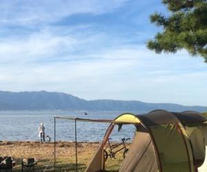 トンネル2ルームテント ロング 使用レポート!琵琶湖畔でファミリーキャンプ。