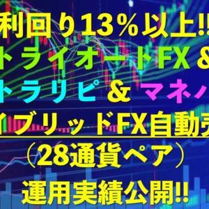 今週は+61,933円リピート系FX自動売買28通貨ペア(トラリピ+トライオートFX+マネパ)