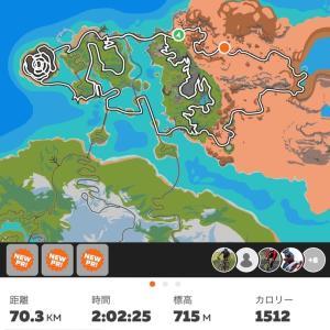 バーチャルトレーニング ZWIFT 2回 合計3時間の100km越え。