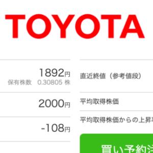 日本株 トヨタの含み損が減ってきました