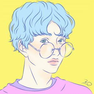 【イラスト】ここんとこ眼鏡男子。丸眼鏡、なんかいいなあ。