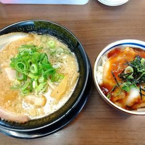 滋賀県のラーメン、豚人彦根店へ。替え玉は有料ではない?濃厚なとこ豚骨にチャーシュー丼を頂きました