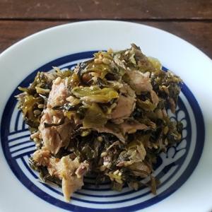 サバ缶でつくる 簡単あえるだけ ごはんがすすむサバと辛子高菜の和え物