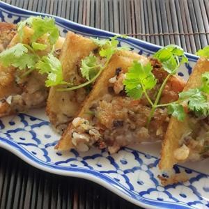 家庭で作る本格的タイ料理シリーズ16 カノムパンナークン 海老の揚げトースト