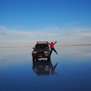 ボリビア ついにウユニ塩湖で鏡張りを見る