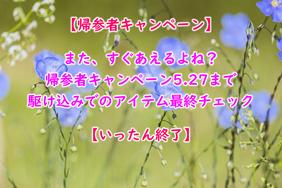 【帰参者キャンペーン】5.27まで 駆け込みでのアイテム最終チェック