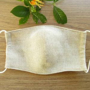 手織り布でマスクを制作。