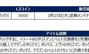 ◆「L2コインショップ」の新アイテム追加のお知らせ:2020.03.25