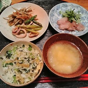 Disaster prevention🍚♻しらすと小松菜の混ぜ込みご飯.いかアスパラ塩レモンなど.食パン焼いた