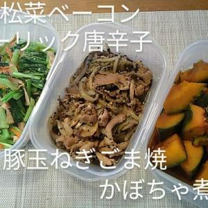 スパセ🖐️&ファスナー😀ゴミ出しL字4区画☔掃除機拭きday.豚コマで2品.南瓜煮物.小松菜ベーコンガーリック炒