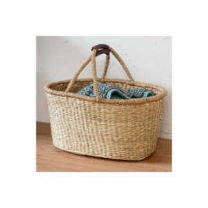 かご バスケット 価格:1390円 合皮レザーの持ち手付きで、持ち運びに便利な シーグラス(天然水草)のバスケット。