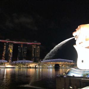 マリーナベイサンズのライトアップがシンガポールの国旗だった