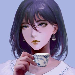 愛用のティーカップをモデルにアイコン画像を書いてもらう。