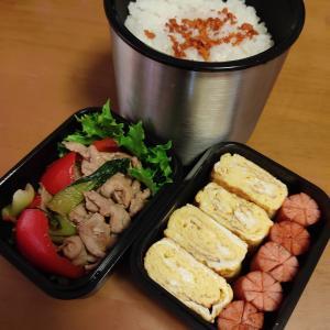 男子高校生のお弁当 今日のメインは豚肉とパプリカのガーリック醤油炒め