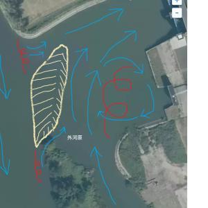 坂川放水路水門の複雑な流れ
