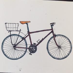 自転車の絵を描く
