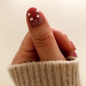 【セルフネイル】くすみピンクで大人の猫ネイル【春ネイル】