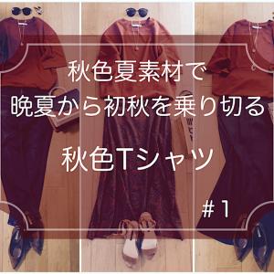 秋色夏素材で晩夏〜初秋を乗り切る!#秋色Tシャツのコーデ