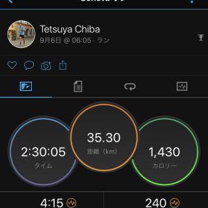 2020/9/6 平均サブ3ペースでの2時間30分走(35.3km)