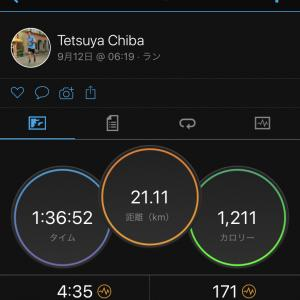 2020/9/12 Eペースでのハーフマラソン距離走