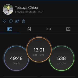 2021/8/26 走り始めが苦しかった、テンポラン 13km