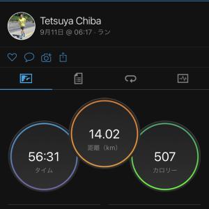 2021/9/11 ポップライン萩原さんの設定ペースを参考に、ウェーブ走 14km