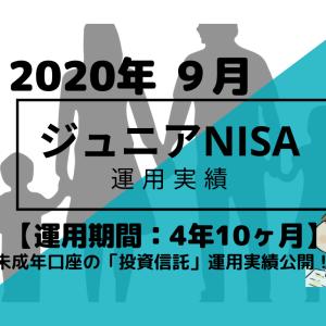トータルリターン+6.6万円【未成年口座/ジュニアNISA】2020年9月投資信託・米国ETFの運用成績を公開!【運用期間4年10ヶ月】