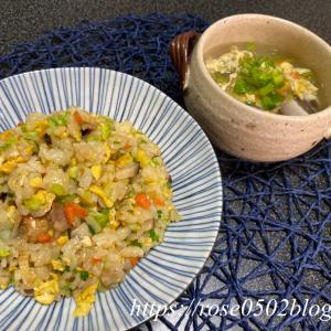 クリスマスローズ・ビオラ♡同じ食材で焼き飯と中華スープ