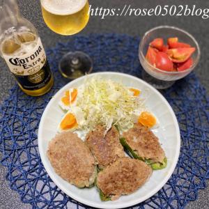 動画・バズビデオ/一人晩酌(お肉たっぷり ピーマンの肉詰めレシピ)