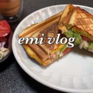 【vlog・日常・料理】お昼ごはん 残り物で簡単ホットサンド