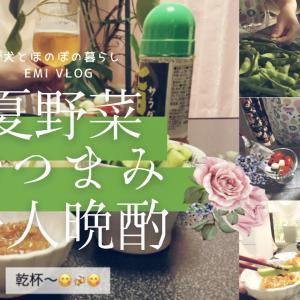 【晩酌vlog】旬の夏野菜おつまみで一人晩酌