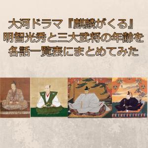 【各話】麒麟が来る明智光秀/信長/秀吉/家康の満年齢と数え年一覧表