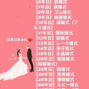 結婚すると結婚記念日以外に毎年記念日あるのね!(⊙ө⊙)