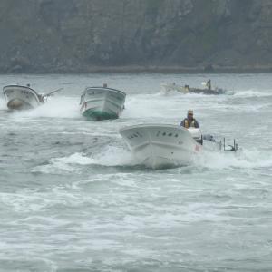 昆布漁の帰港風景