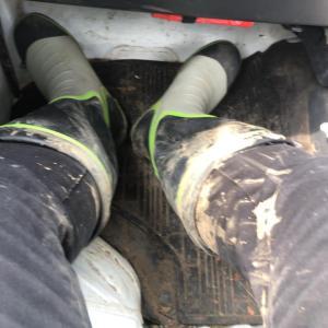 獣害被害調査-長靴では厳しい場所も-