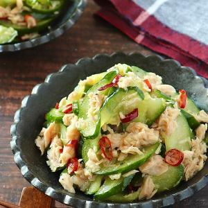 お昼ご飯は超大皿特盛です!きゅうりとツナのペペロン風ナムル