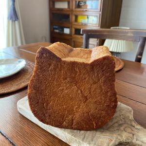 ねこ型のパンにお絵かき