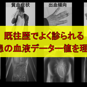 既往歴でよく診られる内部疾患の血液データー値を理解する。