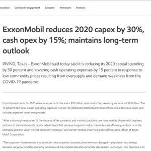 【XOM配当維持】マークス、エクソン・モービル(XOM)の設備投資削減による配当維持を考える。