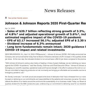 【JNJ増配】マークス、ジョンソン&ジョンソン(JNJ)の2020年第1四半期決算発表を確認する。