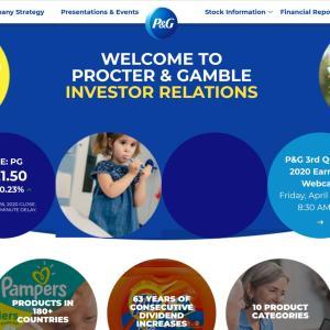 【P&G決算】マークス、プロクター&ギャンブル(PG)の20年第3四半期決算を確認する。