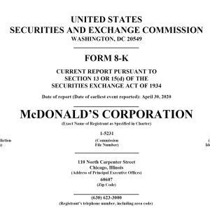 【MCD決算発表】マークス、マクドナルド(MCD)の2020年第1四半期決算発表を確認する。