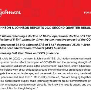 【JNJ20Q2】マークス、ジョンソン&ジョンソン(JNJ)の2020年第2四半期決算発表を確認する。