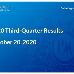 【PM20Q3】マークス、フィリップ・モリス・インターナショナル(PM)の2020年第3四半期決算を確認する。